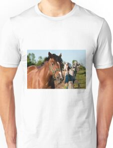 Horse By Cedar Fence Unisex T-Shirt