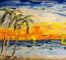 Three palms Abstract Impressionism by William  Boyer