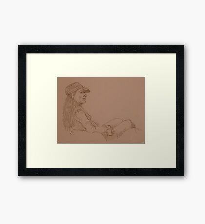 Quick-Sketching at Bob's Framed Print