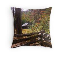 Smoky Mountain Log Cabin Throw Pillow