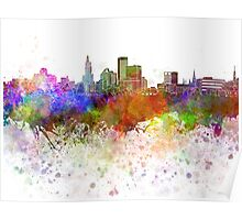 Providence skyline in watercolor background Poster
