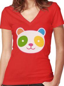 Rainbow Panda Women's Fitted V-Neck T-Shirt