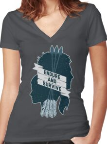 Endure and Survive Women's Fitted V-Neck T-Shirt