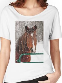 Horse In Snow Storm Women's Relaxed Fit T-Shirt