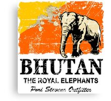 Bhutan Elephant Flag - Vintage Look Canvas Print