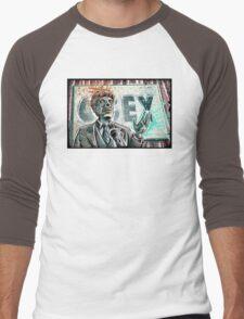 They Live, art, print, john carpenter, 80's, 90's, movie, film, action, sci fi, horror, rowdy, roddy piper, alien, green, face, politician, obey, joe badon Men's Baseball ¾ T-Shirt