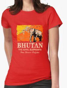 Bhutan Elephant Flag - Vintage Look Womens Fitted T-Shirt