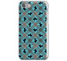 Scottie Dog Turquoise Plaid Pattern iPhone Case/Skin