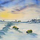 Sheep and Snow on the Moors by Glenn  Marshall
