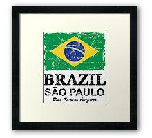 Brazil Flag - Vintage Look Framed Print