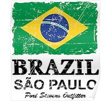 Brazil Flag - Vintage Look Poster