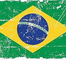 Brazil Flag - Vintage Look by Port-Stevens