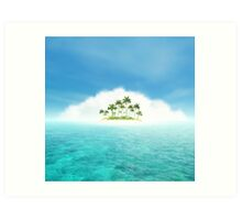 Ocean And Tropical Island With Palms Art Print
