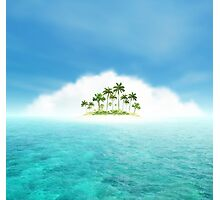Ocean And Tropical Island With Palms Photographic Print