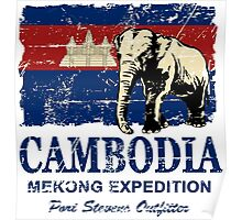 Cambodia Flag - Vintage Look Poster