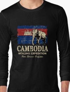 Cambodia Flag - Vintage Look Long Sleeve T-Shirt