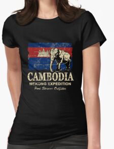 Cambodia Flag - Vintage Look Womens Fitted T-Shirt