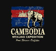 Cambodia Flag - Vintage Look T-Shirt