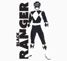 MMPR Black Ranger Print One Piece - Short Sleeve