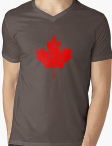 Maple Leaf - Canadian Flag - Vintage Look Mens V-Neck T-Shirt