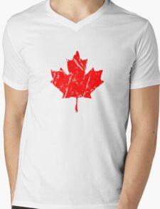Maple Leaf - Canadian Flag - Vintage Look Mens V-Neck T-Shirt
