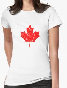 Maple Leaf - Canadian Flag - Vintage Look Womens Fitted T-Shirt