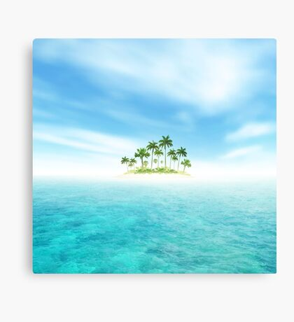 Ocean And Tropical Island With Palms Canvas Print
