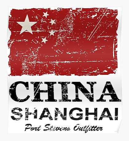 China Flag - Vintage Look Poster