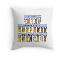Cats celebrating birthdays on April 16th. Throw Pillow