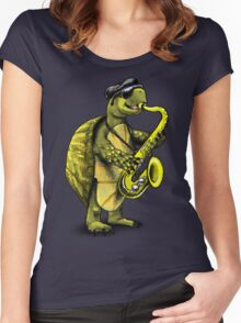 Saxophone Playing Turtle Women's Fitted Scoop T-Shirt