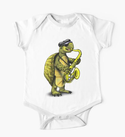 Saxophone Playing Turtle One Piece - Short Sleeve