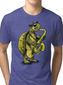 Saxophone Playing Turtle Tri-blend T-Shirt