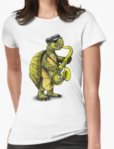 Saxophone Playing Turtle Womens Fitted T-Shirt
