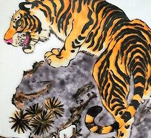 Tiger on the rocks by George Hunter