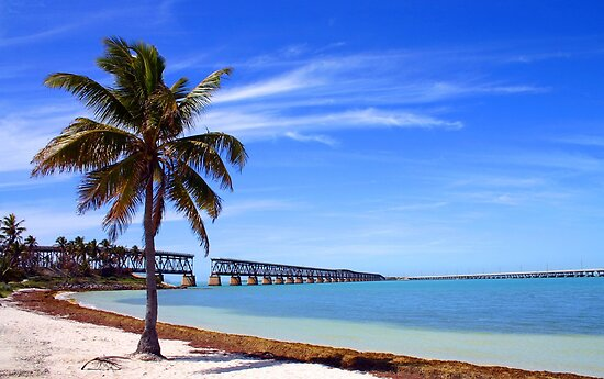 Bahia Honda Park, The Old Train Bridge - Florida by Debbie Pinard