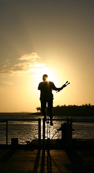 Juggler at Sunset - Key West, Florida by Debbie Pinard