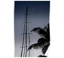 Moon, Mast and Palm Frond - Key West Poster