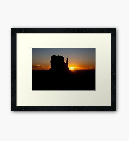 West Mitten Sunrise - Monument Valley Framed Print