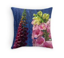 Two Foxglove flowers on texture reaching for the sky. Throw Pillow