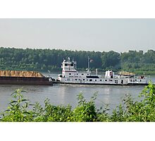Barge coming down the Mississippi, Cairo IL Photographic Print
