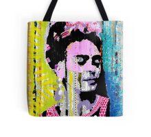 Frida Kahlo - Mixed Media with Newspaper Tote Bag