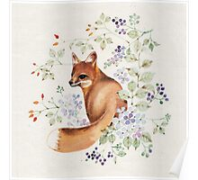 Fox with Hydrangea and Blue Berries Poster