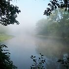 Misty morning on the Fox River, Portage Wis by Mona Gainey-Lanier