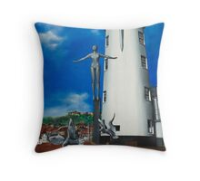 Bathing Belle. Scarborough lighthouse. North Yorkshire Throw Pillow