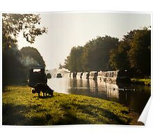 Autumn morning - Grand Union Canal, Cosgrove Poster