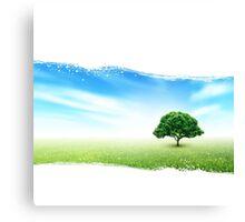 Summer, Field, Sky, Tree, Grass, Flowers Canvas Print