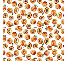Seamless pattern with watercolor apricot Photographic Print