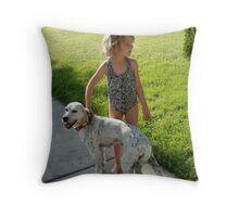 Girl with Dog Throw Pillow