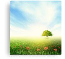 Summer, Field, Sky, Tree, Grass, Poppy Canvas Print