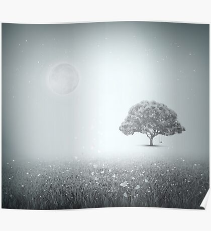 Summer, Field, Sky, Tree, Grass, Moon, Evening Poster